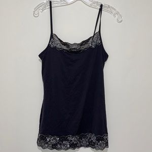 Maurices Nighty with Black Lace & Silver Flowers